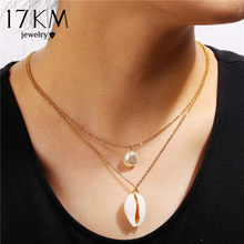 17KM Bodomian Shell Long Pearl Pendant Necklace For women Stainless Steel Multiple Gold Charm Summer Party Gift Jewelry 2019(China)
