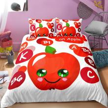 3D Printed Apple Bedding Sets For Adult Kids Bedding Set Bed Linen Cover Duvet Cover Pillowcases Bed Sets Twin Full Bed Linen 100%cotton adult kids bedding set fashion casual bedding sets bed linen quilt duvet cover bed sheet for king queen twin bed