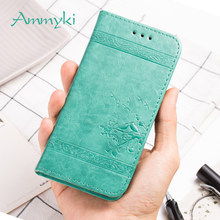 AMMYKI Flowers birds Hot Logo flip stents leather cell phone back cover 5.5'For oukitel u22 case(China)
