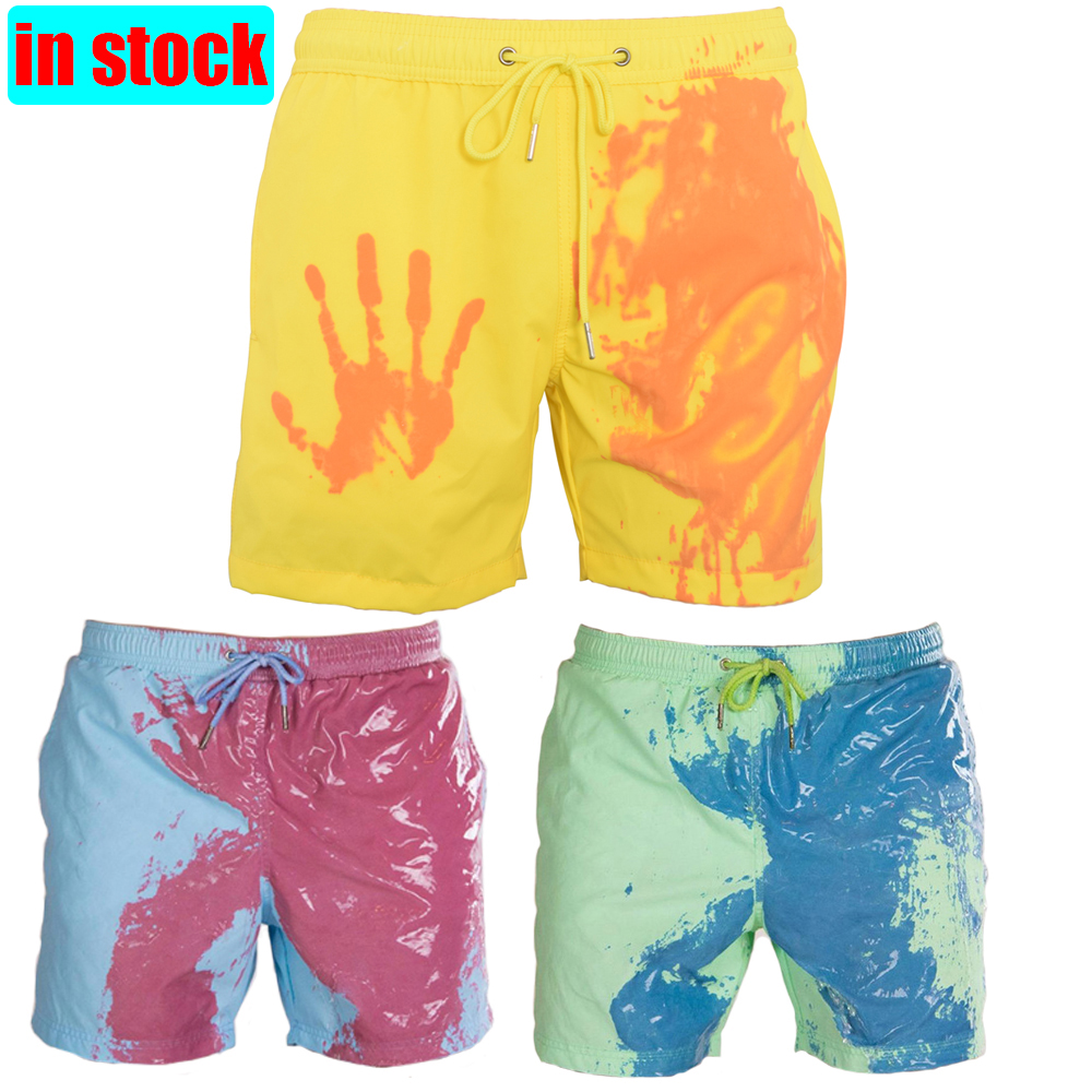 2020 Men's Summer Discoloration Swimming Trunks Magical Change Color Beach Shorts Quick Dry Bathing Shorts Fashion Surfing Pants