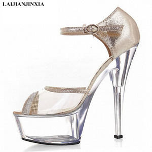 New 15 cm high heels, platform shoes, high heels, shiny vamps with thin heels, dancing shoes