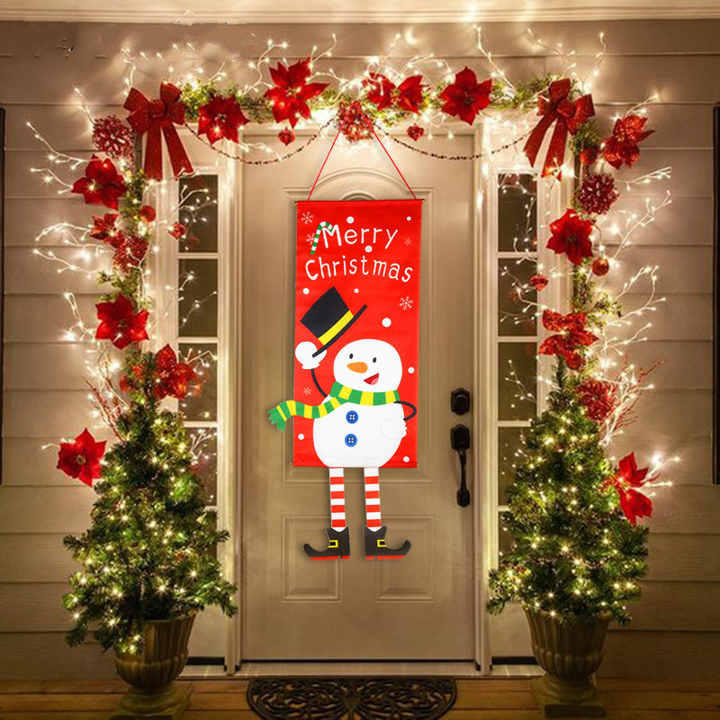 Merry Christmas Decorations For Home Ornaments Garland New Year Noel Porch Sign Xmas Door Decor Hanging Cloth navidad Gifts