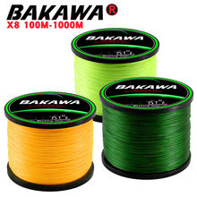 BAKAWA 8 Strands 1000M 500M 300M Braided Fishing Line Multifilament Pesca Carp Super Strong Weave Sea Saltwater Extreme 100% PE