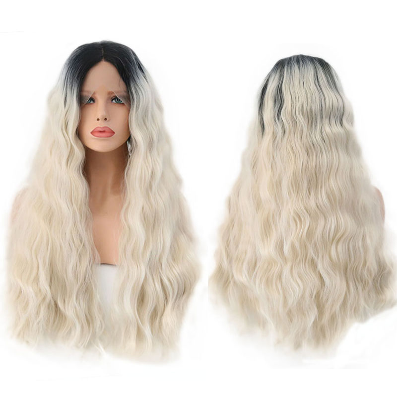 RONGDUOYI Ombre Long Wig Woman Hair Synthetic Lace Front Wig for Women Natural Hairline Loose Wave Wigs Hair Middle Part