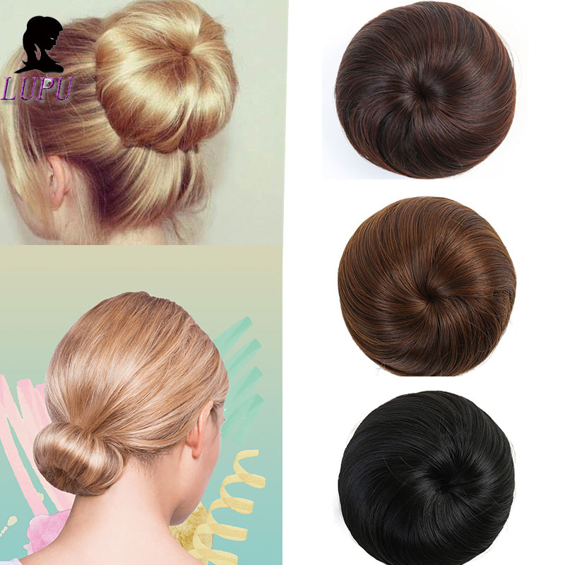 LUPU Synthetic Chignon Fake Hair Bun Clip In Elastic Scrunchie Updo Hair Extensions Heat Resistant Hairpiece Headwear