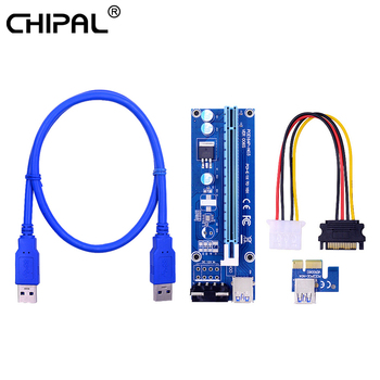 CHIPAL 0.6M 1M VER006S PCI-E 1X to 16X Riser Card PCIe Extender SATA to 4Pin Power USB 3.0 Cable for Video Graphics Card 1