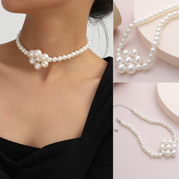 Elegant Imitation pearls Pearl choker Necklace 8-10mm White Near Round Pearl Jewelry Gifts for Women image