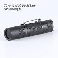 Convoy-linterna ultravioleta T2 UV 365nm, versión de batería AA/14500, Mini luz Flash de iluminación portátil