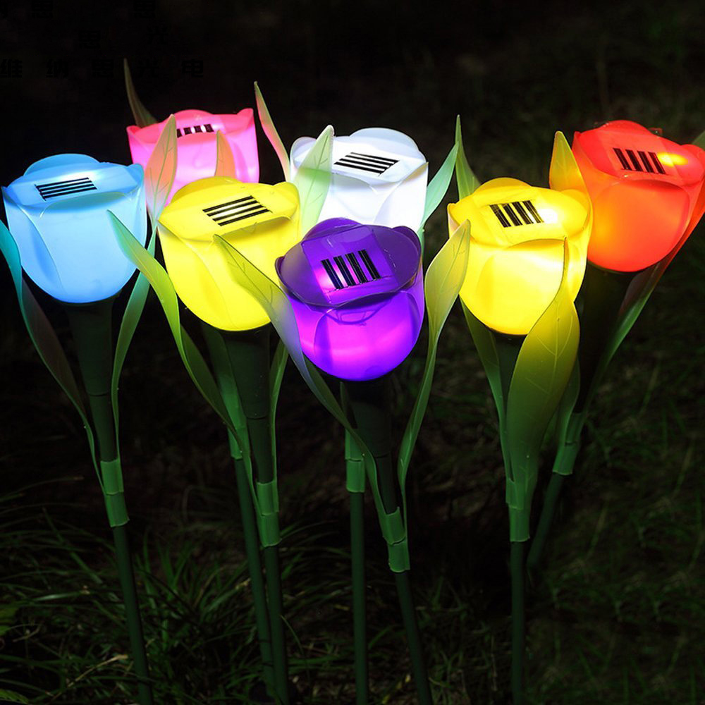 Solar Tulip Flower Lamp Multi-Color Outdoor Waterproof Garden Yard Path Lawn Insert Solar Light