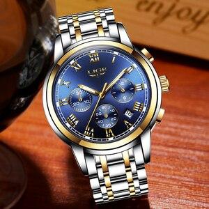 Image 3 - 2018 Nieuwe Horloges Mannen Luxe Merk LUIK Chronograph Mannen Sport Horloges Waterdichte Volledige Steel Quartz Horloge Relogio Masculino