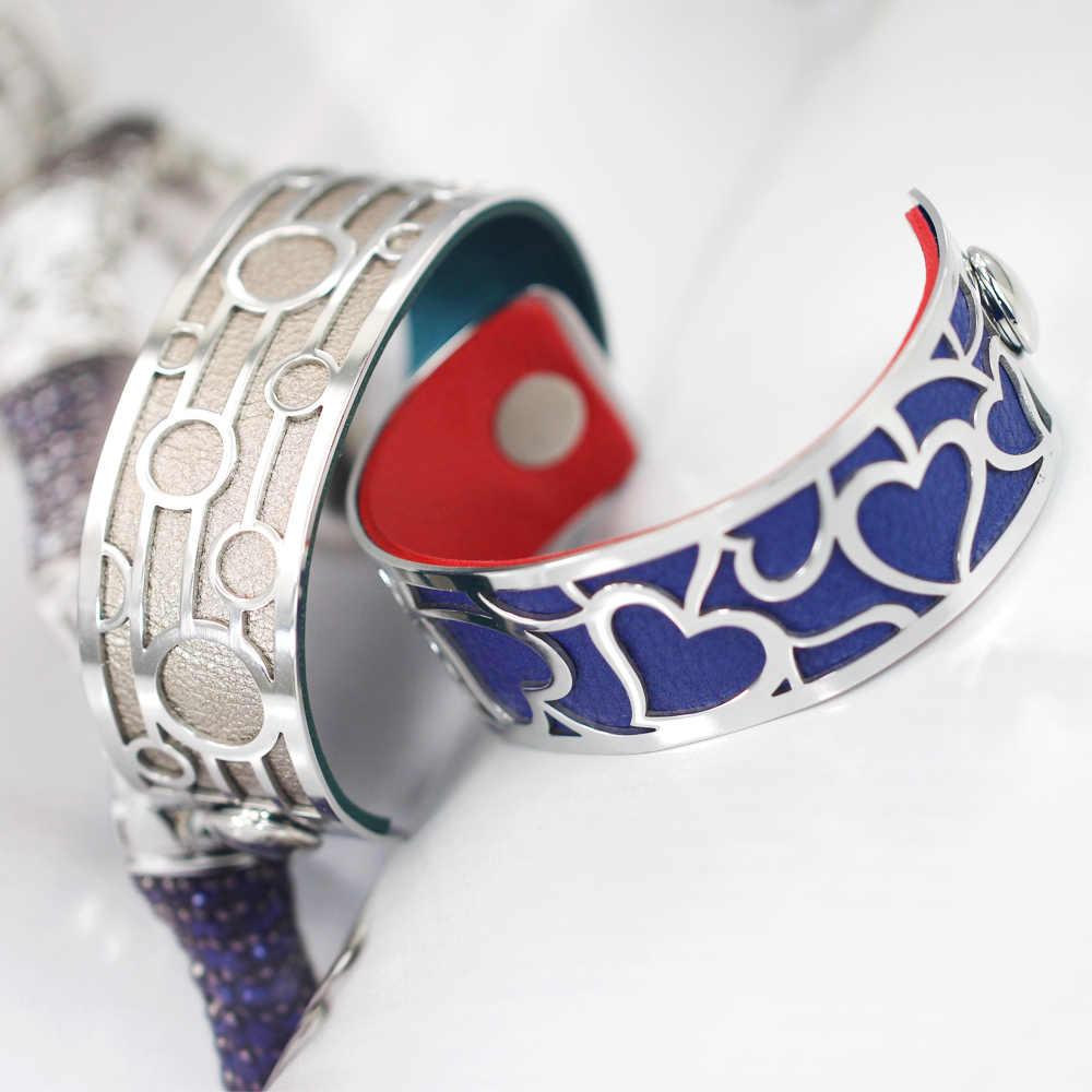 Pulseras y brazaletes con forma de círculo de Legenstar para mujer, de acero inoxidable, georgettes, cuero, DIY, Manchette Bijoux, joyería para mujer