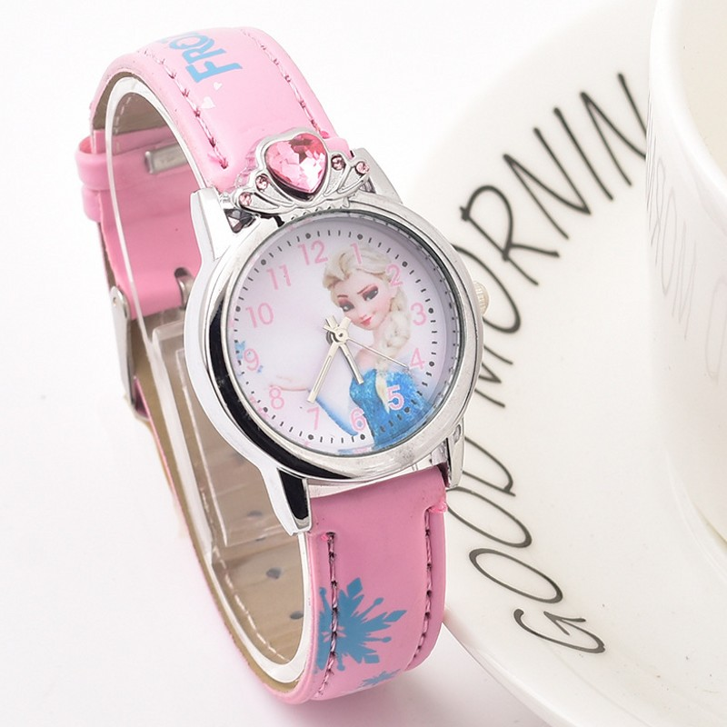 New Arrival Princess Elsa Child Watch Cartoon Anna Crystal Kids Watch For Girls Student Children Wrist Watches Relogio Kol Saati