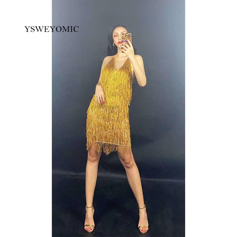 Gold blue Red Fringe Backless Spandex Short Dress Bar Prom Women Dancer DS Singer Outfit Birthday Celebrate Dress