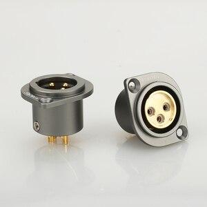 Image 1 - 1 pçs viborg cobre puro 24 k banhado a ouro xlr 3 pinos chassis fêmea painel montado soquete adaptador de solda
