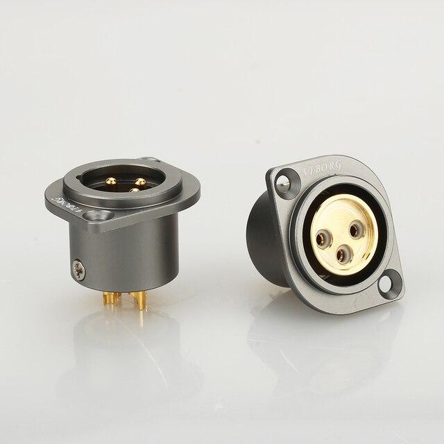 1 pçs viborg cobre puro 24 k banhado a ouro xlr 3 pinos chassis fêmea painel montado soquete adaptador de solda