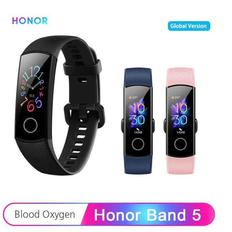 Huawei Honra Banda 5 Banda Inteligente Versão Global AMOLED 0.95 ''Touchscreen 5ATM Detectar Pulseira Inteligente da Frequência Cardíaca de Oxigênio No Sangue