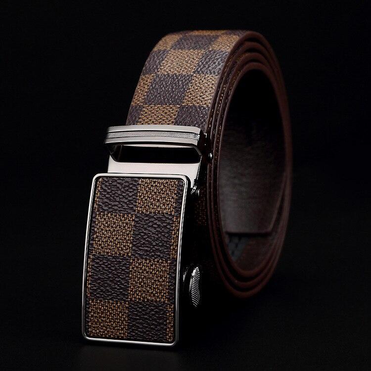 3.5cm Width Vintage Grid Brand  Men Belts High Quality Black Buckle Pu Leather Waist Belt Casual Male Jeans Girdle