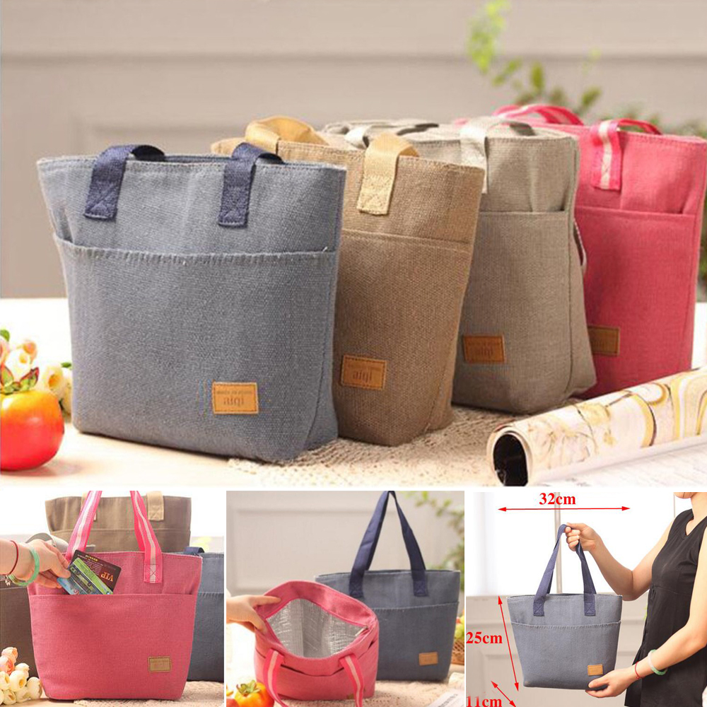 Thermal Lunch Bag Food Kitchen Organizer Cotton Linen Cloth Handy Thickness Insulated Picnic Lunch Bags For Women Storage Bag
