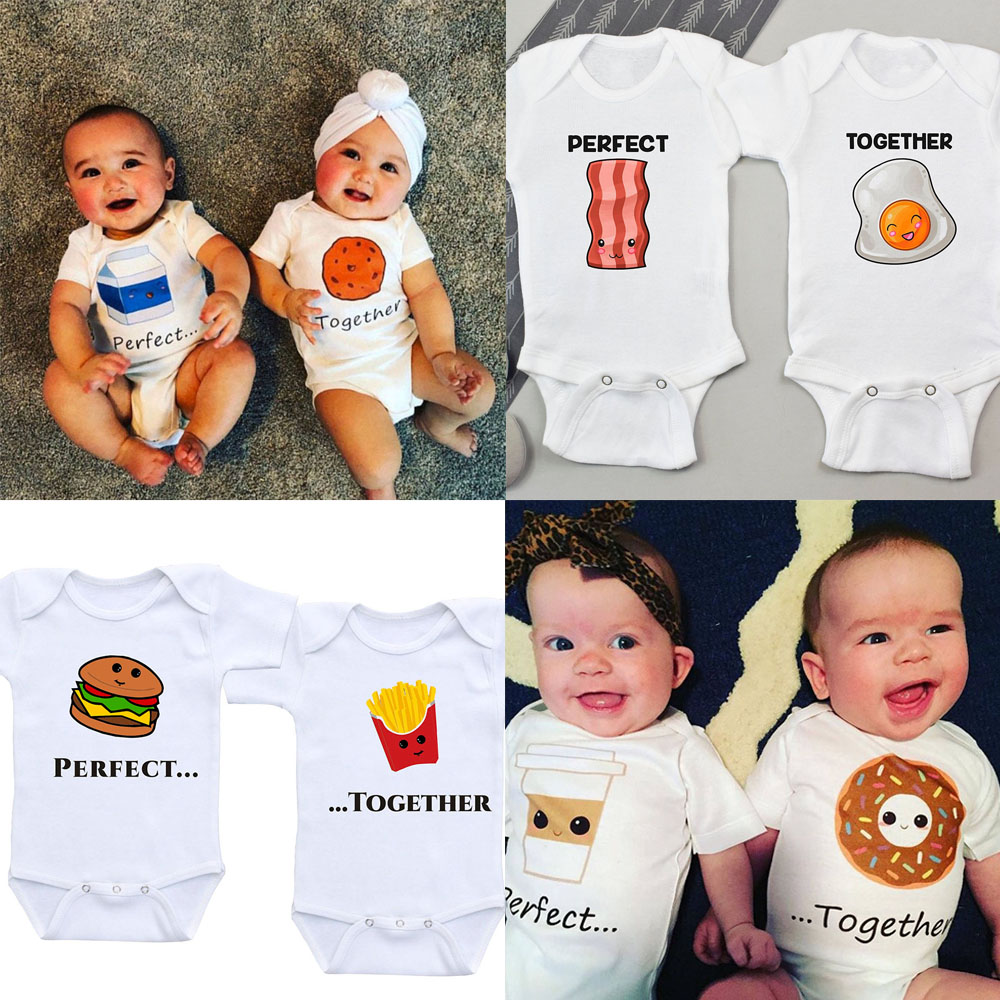 Twin Baby Clothes Twin Onesies Outfits Boys Girls Twin Baby Shower Gift Summer Short Sleeve Bodysuits Brothers/sisters Onesie