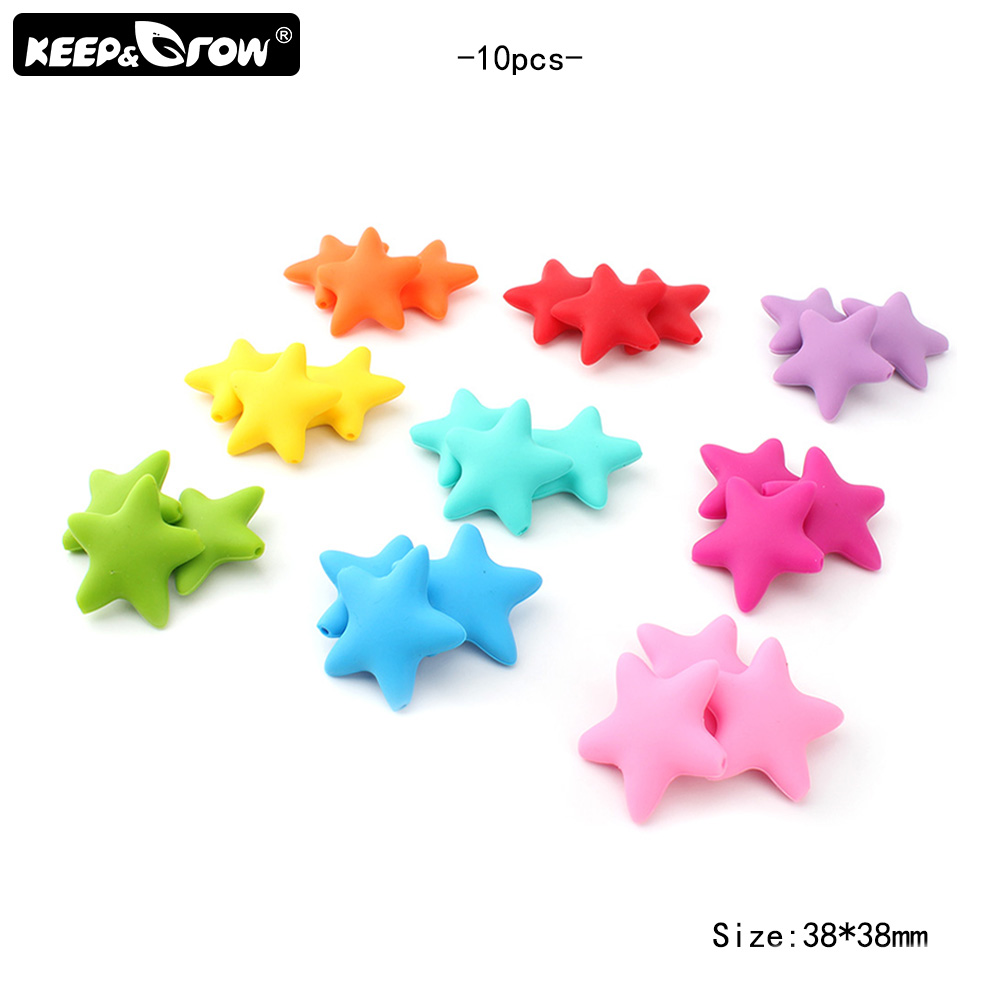 Keep&Grow 10Pcs Food Grade Silicone Beads Star Baby Teething Beads BPA Free Teethers Baby Chew Teething Necklace Pendant Toys
