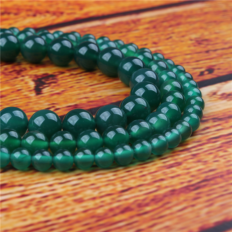 Green agate Natural Stone Bead Round Loose Spaced Beads 15 Inch Strand 4/6/8/10/12mm For Jewelry Making DIY Bracelet