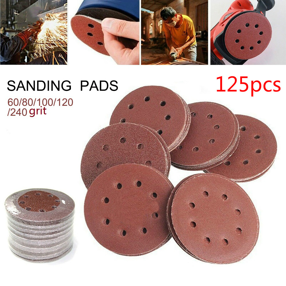 125pcs 5 Inch 125mm Round Sandpaper Eight Hole Disk Sand Pads Set  60-240Grit Sander Disc Abrasives Polish Machine Disc Polish