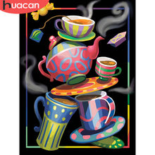 HUACAN Painting By Numbers Coffee Cup Cartoon HandPainted Kits Drawing Canvas DIY Oil Pictures Landscape Home Decoration Gift(China)