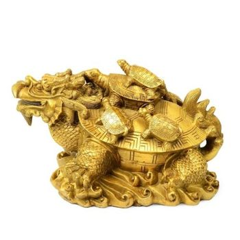 China Brass Statue Mother And Son Dragon Turtle Copper Fengshui Statue Home Decoration