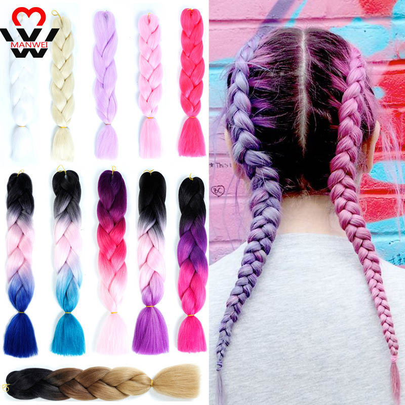 MANWEI 24 Inch Single Ombre Color Synthetic Hair Extension Crochet Twist Jumbo Braiding Kanekalon Hair