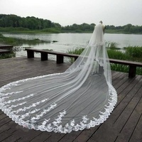 White 4M 3M Cathedral Wedding Veil 2Tiers Bridal Lace Applique with comb