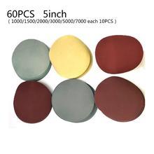 60 stücke Set Sandpapers 125mm/5 Zoll 1000/1500/2000/3000/5000/7000 Grit Schleifen Papier Discs Haken Schleife Sand Papiere Hohe Qualität