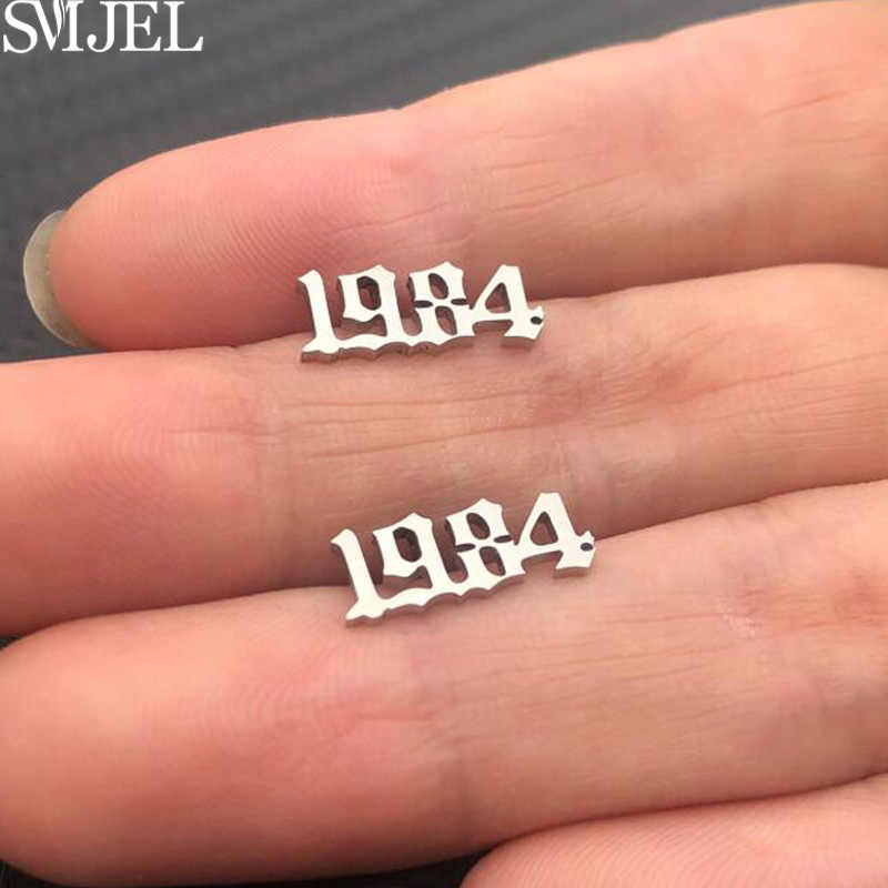 SMJEL Stainless Steel Earings Year Number Stud Earrings Women Men Personalized Date 1980 1984-2019 Letter Studs Birthday Gifts