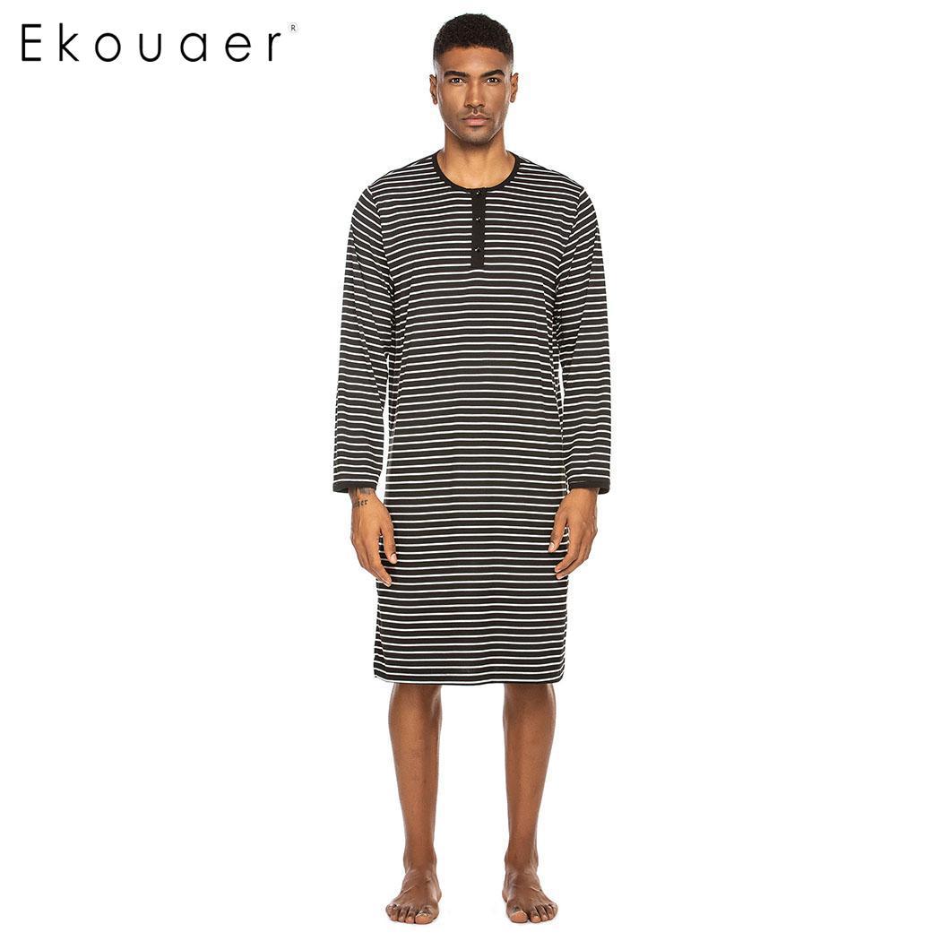 Ekouaer Men Nightshirts Homewear Striped Long Sleeve O Neck Sleepshirt Nightwear Knee Length Spring Autumn Sleepwear