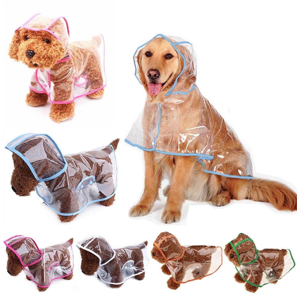 Pet Jacket For Rain Dog Transparent Raincoat Adjuastable Waterproof Coat For Small Medium Large Dogs Hooded Windproof Design