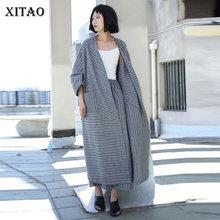 XITAO Striped Plus Size Long Trench Linen Cardigans Irregular Elegant Pocket 201