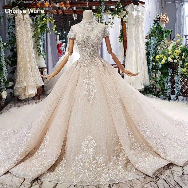 HTL634 robe de mariée élégante avec train col haut à manches courtes en dentelle de cristal robe de mariée à volants train vestidos de novia vintage