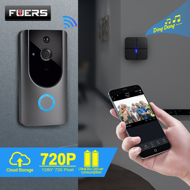 FUERS 720P WIFI Doorbell Camera Smart Wireless Video Intercom Camera Doorbell IP Doorbell Camera Two Way Audio Cloud Storage