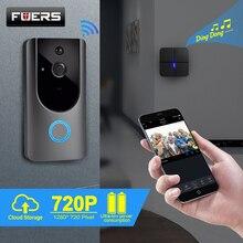 FUERS timbre de puerta inalámbrico 720P con WIFI, cámara de vídeo inteligente, intercomunicador, timbre de puerta IP, cámara de Audio bidireccional, almacenamiento en la nube