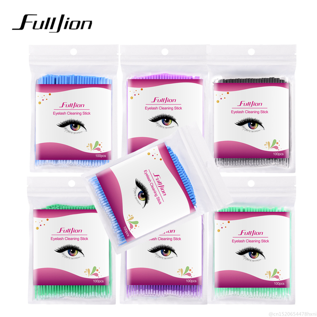 100Pcs Disposable Eyelash Cotton Swab Micro Brushes Eyelashes Extension Cleaning Sticks Brushes for Eyes Mascara Remove Makeup 2