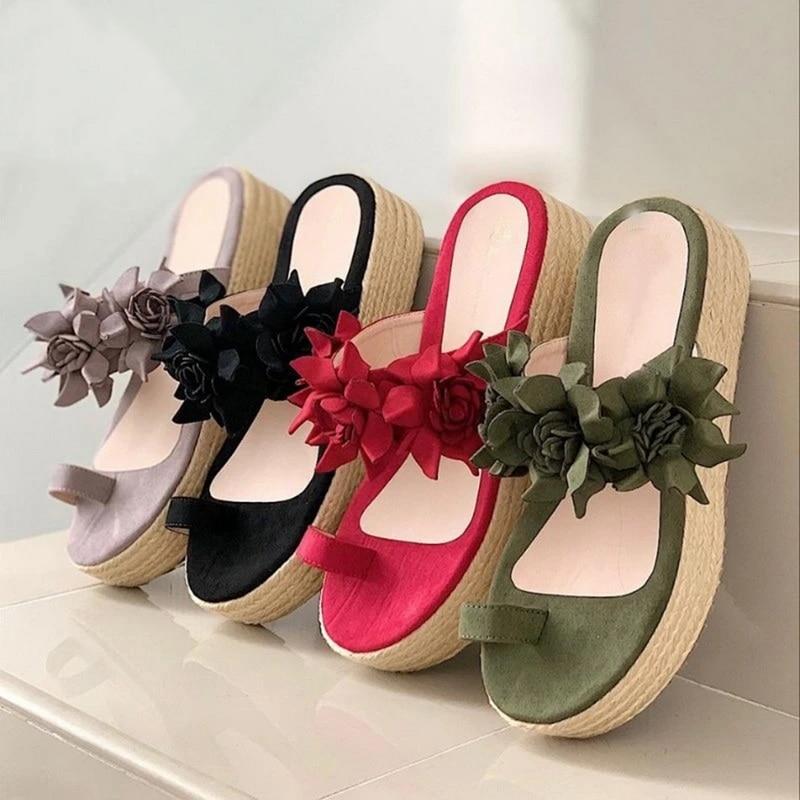 2020 Hot Sales Woman Sandals Platform Flower Slippers Casual Beach Flip Flops Sandals Women Summer Sexy High Heel Sandal Ladies