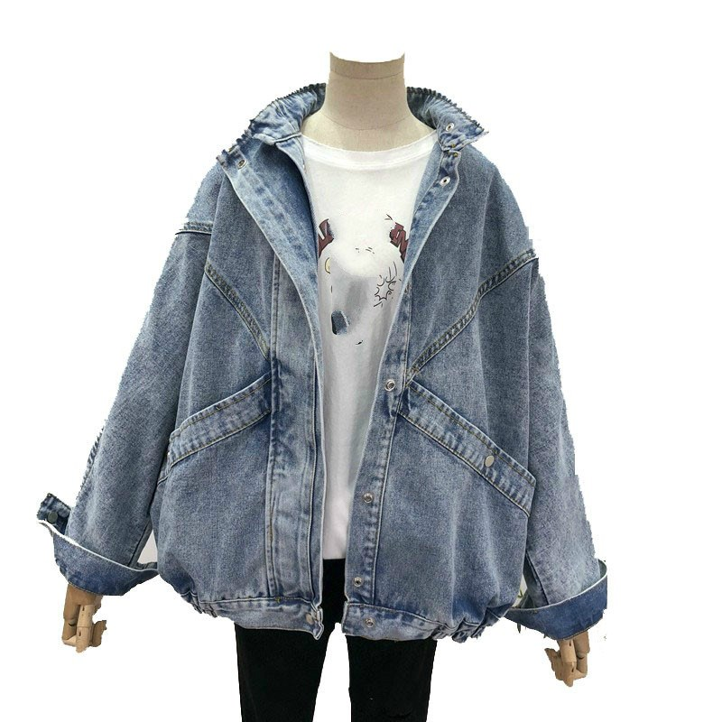 Plus Size Vintage Turn-Down Collar Denim   Jacket   Coat Women Streetwear Pockets   Jackets   Button Long Sleeve Loose   Basic     Jackets