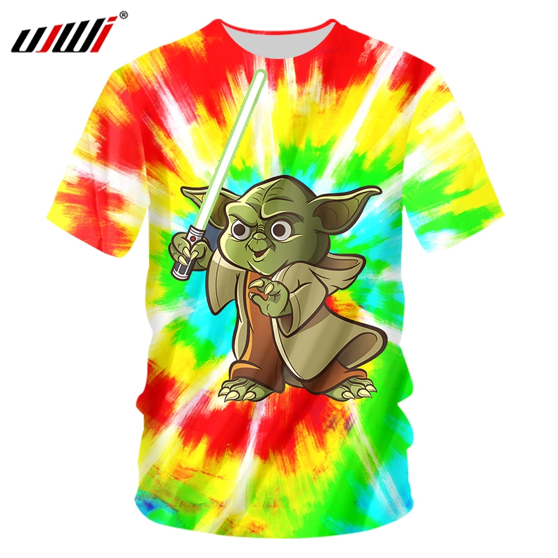 UJWI 3D men/woman Science Fiction Movie Star Wars T-Shirt Space War The Mandalorian Men's Shirt Kawaii Yoda Baby Top image