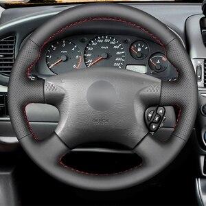 Image 2 - Capa de volante do carro de couro sintético do plutônio preto costurado à mão para nissan almera (n16) x trail (t30) terrano 2 almera tino
