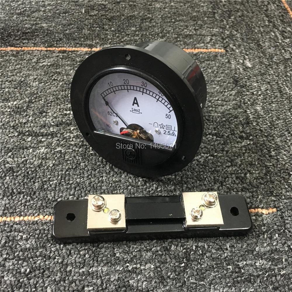 1 шт. 62C2 DC 0-50A круглый аналоговая AMP Панель метр амперметр тока механический указатель уровня DC 50A w 75mV внешний шунтирующий резистор