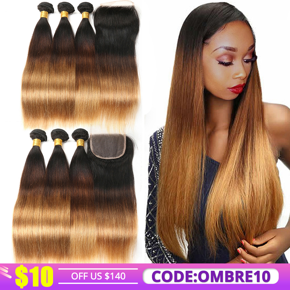 T1B/4/30 Ombre Straight Hair Bundles With Closure Peruvian Human Hair Weaves Bundles With Closure 3 Tone Alimice Remy Hair