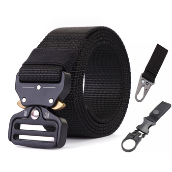 Tactical Army Belt Outdoor Nylon Waist Belts with Automatic Metal Buckle Hook Accessories for Hunting Police Duty Men Military 1