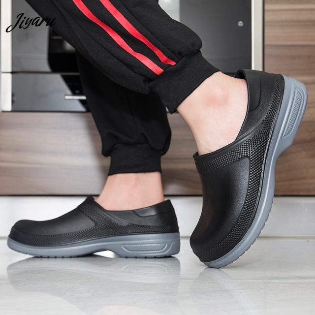 Hot Work Wear Kitchen Work Shoes Waterproof Flat Sandals for Chef Master Comfortable Restaurant Slippers Quick Dry Chef Shoes