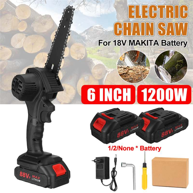 6Inch 1200W 21V Wireless Electric Chain Saw Pruning ChainSaw Cordless Woodworking Cutter Tool With 0 1 2pcs Battery EU US Plug