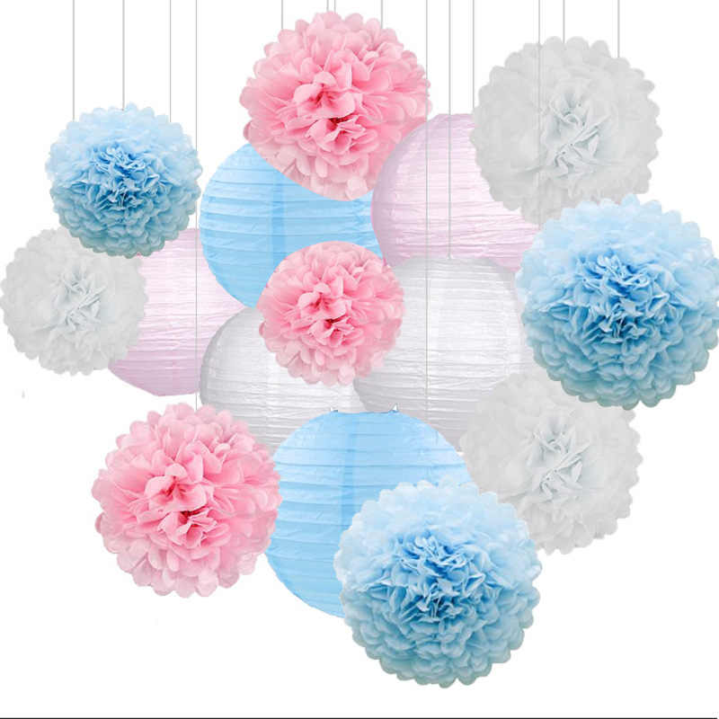 4-6-8-10-12-14-16inch Light Blue Royal Blue Sky Blue Peacock Blue Round Chinese Paper Lanterns Lampion Tissue Paper Flower Balls