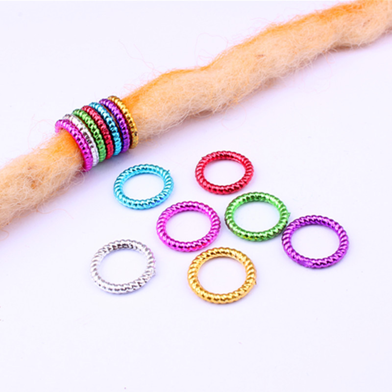 50pcs/lot Multicolor Big Hole Size 10mm Hair Braid Rings Accessories Clips For Women And Girls Dreadlocks Beads Set
